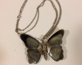 "Butterfly necklace    12"" double chain"