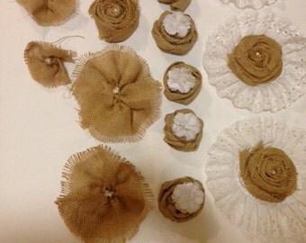 15 burlap rosettes/flowers