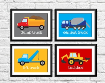 Construction art prints, construction decor, baby nursery decor, kids wall art, nursery prints, trucks art prints, construction wall arts