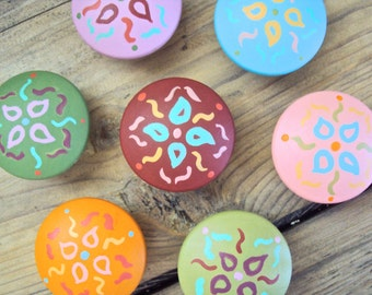 "Set of Seven Floral Knobs - Wooden Boho Dresser Drawer Knob - Hand Painted Cabinet Cupboard Knobs - Decorative Bohemian Knobs - 1 1/2"" Knob"