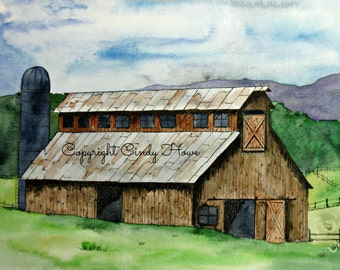 Digital art, barn, old barn, farm, barn scene, farm landscape, farms, watercolor barn, digital download