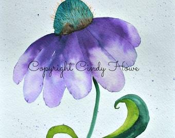 Purple cone flower, cone flower, Digital art, digital download, flower,  floral, flowers,fantasy flower, flowers