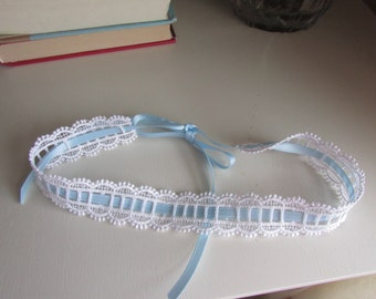 SALE white wedding garter, white bridal garter, white lace garter, heirloom garter, keepsake garter, self tie garter