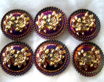 Czech Glass Buttons   6 pcs   Gorgeous 24K gold    22mm     IVA 070