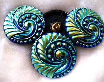 Czech  Glass Buttons  4 pcs   GORGEOUS     27 mm     IVA 011