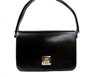 1970 french H BAG  brown genuine box leather / hand and shoulder bag