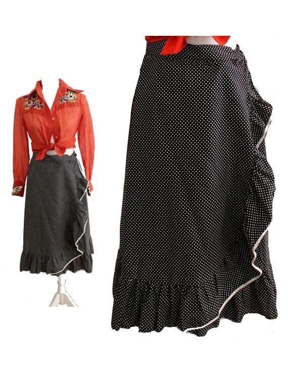 80s jupe portefeuille pois noir et blanc volants flamenco. Black Bedroom Furniture Sets. Home Design Ideas