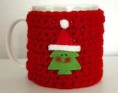 Kids christmas gift/present. Funny christmas tree mug / cup cozy,  red. Christmas gift