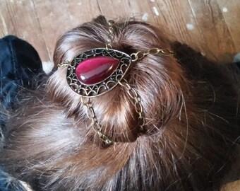 Ruby Red Teardrop Bun Cover Hair Accessory