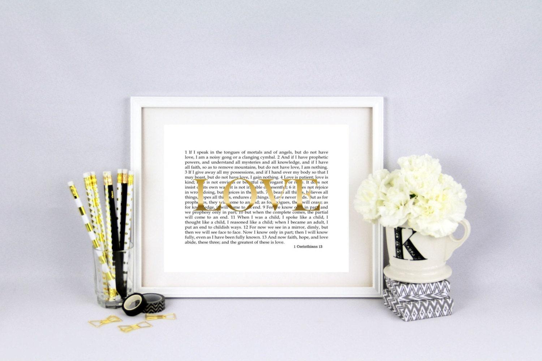 wall art 1 corinthians 13 love scripture print by. Black Bedroom Furniture Sets. Home Design Ideas