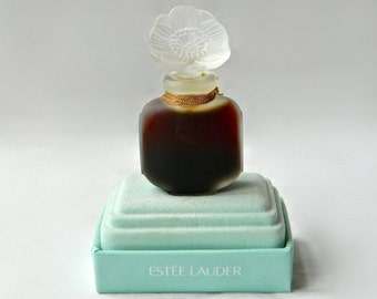 Vintage YOUTH DEW Estee Lauder Pure Perfume .25 oz 7.5 ml Crystal Flower Stopper Full Original Presentation Box Base