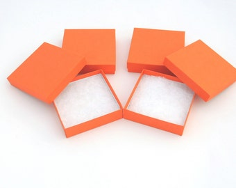 10 Pack 3.5x3.5 Calypso Orange Cotton Filled Jewelry Presentation Boxes, Bright Orange Colored Gift Boxes, Vibrant Orange Party Boxes,