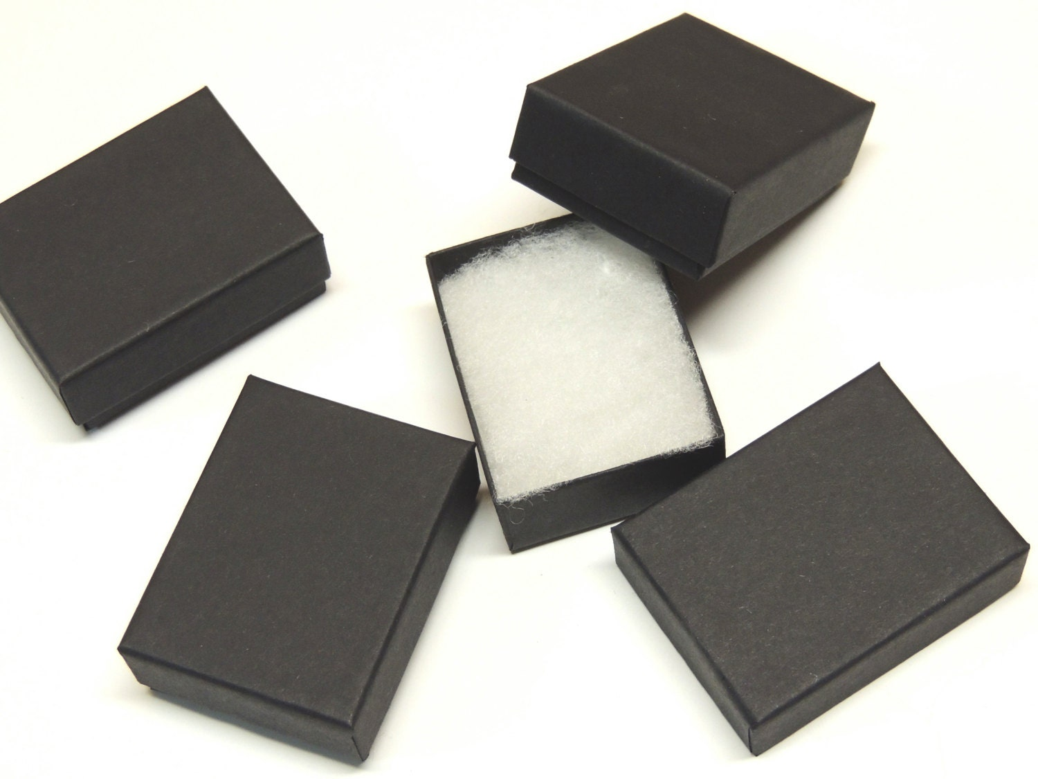 100 matte black cotton filled jewelry presentation boxes for Black box container studios