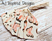 Butterfly Decorative Tape Tags//44 Tags// Tape Tags// Product Tags//Gift Tags//Tags with String//Ready to Ship//INVENTORY REDUCTION