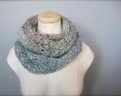 Crochet  Ombre, Blue, Pastel Blue, Powder Blue, Beige, Tan, Grey, Gray Handmade Infinity Scarf, Women's Scarf, Men's Scarf, Unisex Scarf