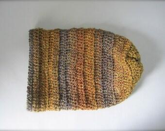Crochet Rusty Orange, Mustard Yellow, Gold, Purple, Ombre, Striped, Slouchy Hat, Beanie Hat