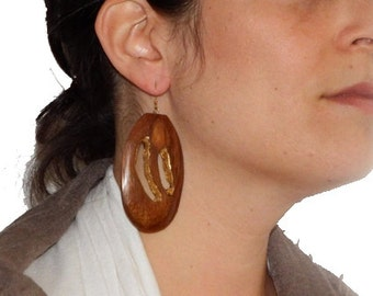 Oval Wood Earrings with Gold Leaf
