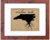 North Carolina Roots Wall Art, Custom Wall Art, Know your roots, Custom State Outline, Burlap Print