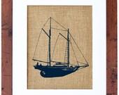Schooner Wall Art, Burlap Print, Nautical Print, Burlap Decor, Burlap Wall Art