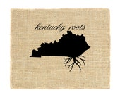 Kentucky Roots Unframed, Burlap Art, Wall Art, State Roots, Custom, Burlap Print