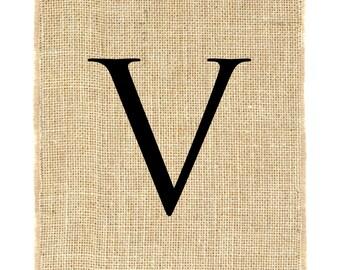 Letter V unframed, burlap monogram, burlap print, alphabet, burlap wall decor