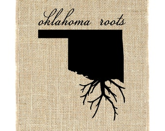 Oklahoma Roots Unframed Wall Art, Burlap Prints, Burlap Art, Custom state roots, State outline