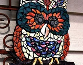 Owl Mosaic Garden Art Wall Hanging Twig Recycled