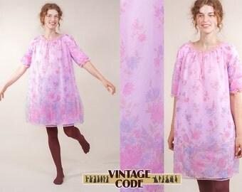 Pink floral nightgown / Unused vintage nightgown /  Pink Nightie / Floral Nightie