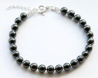 Hematite Bracelet, Hematite Bead Bracelet, Gemstone Bracelet, Confidence Bracelet, Study Bracelet, Balance Bracelet