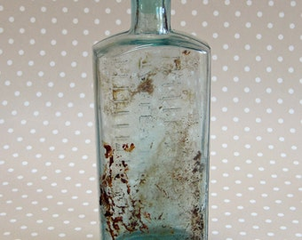 Vintage Medicine Glass Bottle with Table Spoons Measuring Marks and Glass Stopper