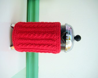 French Press Coffee Cozy, Rich Red Aran Cable
