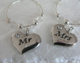 Set of 2 Mr and Mrs Silver Wine Glass Charms with adjoining beads