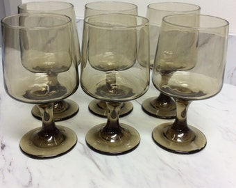 Mid century Art Deco smoke gray glassware (set of 6)