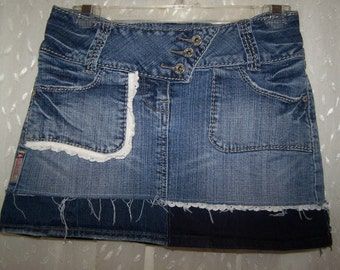 Hag Rags...Upcycled Denim Hippie skirt....Size 1/2.....