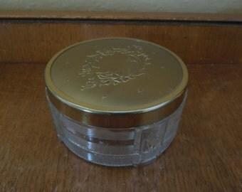 Vintage Floral Vanity Powder Jar Made in Canada