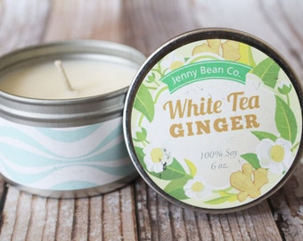 White Tea & Ginger Soy Candle // Fresh Scent // Spring // Gift