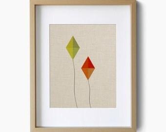 Kites design on faux linen - Giclee Art Print