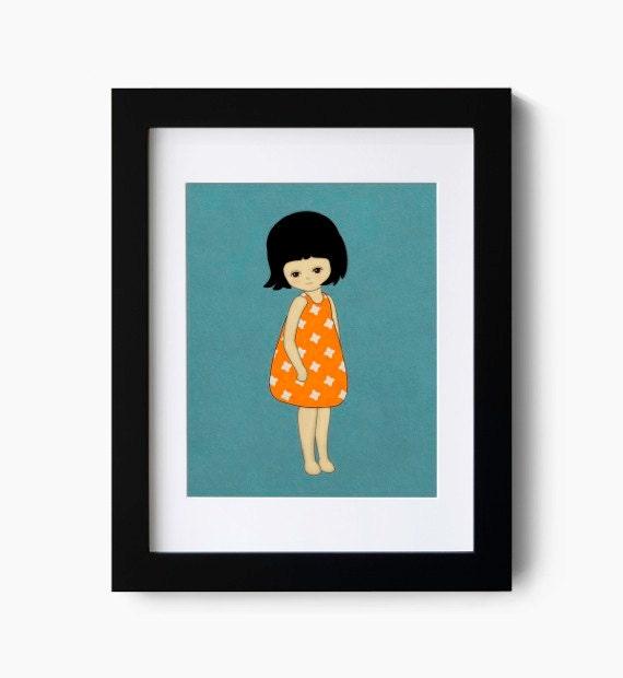 Children Art Print, Cute Little Girl Giclee Art Print
