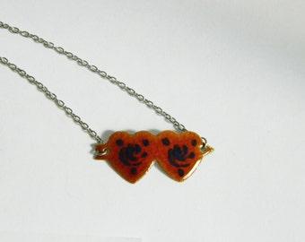 Orange Double Heart Necklace