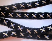 "Suede Faux Trim, Black / Multi, 1""inch, 1 Yard, For Accessories, Costumes, Apparel, Home Decor, Mixed Media"