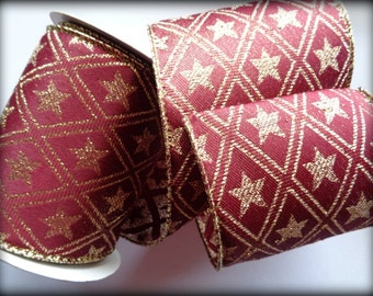 Star Diamond Extra Wide Wired Ribbon, Gold / Burgundy, 4 inch wide, 1 yard, For Adornments, Gift Packing, Wreaths, Center Pieces, Home Decor