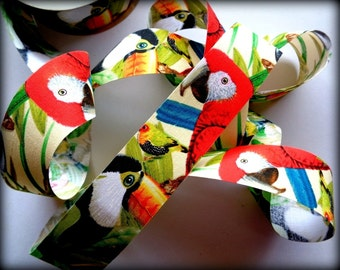 "Tropical Birds Cotton Ribbon Trim, Multi / White, 1 3/8"" inch wide, 1 yard, For Victorian & Romantic Crafts"