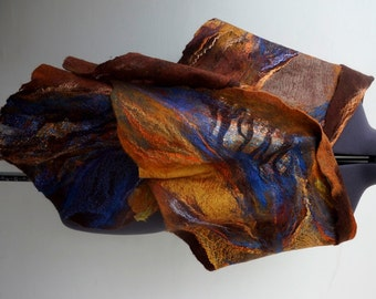 Nuno felted scarf shawl poncho felting wool luxury tippet stole
