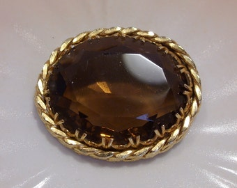 Large Brown Smokey Faceted Glass Brooch