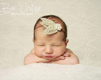 baby girls headbands..feather headbands..baby headbands..newborn headbands..girls headbands..baby headbands..tan headband..ivory headband