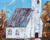 The Gathering Place; Country Church Building Acrylic Painting