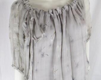 Vintage grey silk chiffon dandelion print peasant boho blouse: fits M/L