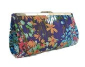 Purple Floral wedding   clutch / Bridal accessory/ Bridesmaids gift idea/  wedding clutch purse/ cocktail  purse/ Custom made / Gift for her
