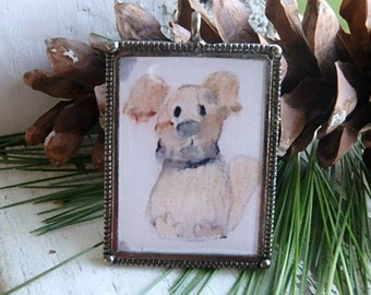 Pound Puppy- art resin pendant original painting. little brown puppy dog. ooak dog brown dog painting. large silver bezel. Jettabugjewelry