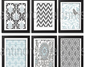 Vintage / Modern Inspired Baby Nursery Prints Collection  -Set of 6 - 8x10 Prints -Baby Blue Grey White   (UNFRAMED)